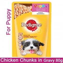 Pedigree Wet Dog Food Chicken Chunks in Gravy for Puppy 80 Gm Pouch